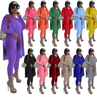 AOMEI Newest Design Casual Solid Color Long Sleeve Two Piece Set Women Split Top Two Piece Pants Set
