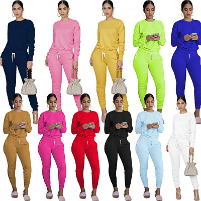 Hot Sale 2021 Fall New Solid Color Ladies Stacked Pants Set Casual Tracksuits Sportswear Outfits Two Piece Pants Set