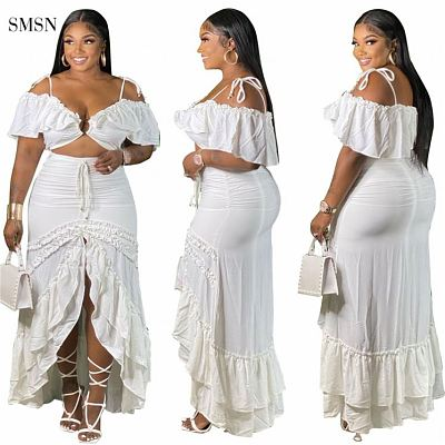 QueenMoen Fashionable 2021 Party Sling Strap Short Ruffles Sleeve Crop Top Hollow Out Fishtail Plus Size Stylish Sexy Long Dress