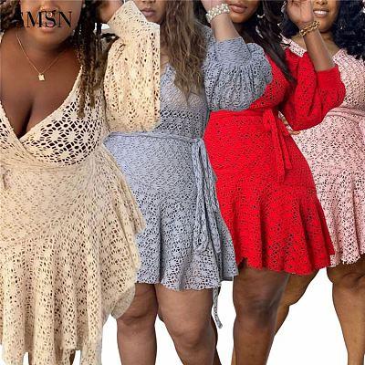 QueenMoen Best Design Lantern Sleeve High Waist Wrap Belt Short Loungewear Lace Plus Size Women Cloth Sexy Ladies Dress For Fat