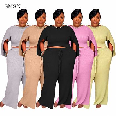 QueenMoen High Quality Short Top And Wide Leg Pants Two Piece Fat Women Rib Slit Sleeve Solid Color Plus Size 2 Piece Pants Set