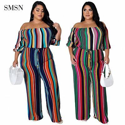 QueenMoen Good Quality Off Shoulder Puff Sleeve Playsuits Plus Size Vertical Stripe Autumn Winter Women Xl 2Xl Clothing Jumpsuit
