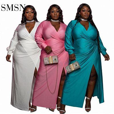 QueenMoen High Slit Wrap Satin Plus Size Dress Deep V Neck Solid Color Lantern Sleeve Club Party Maxi Plus Size Women'S Dresses