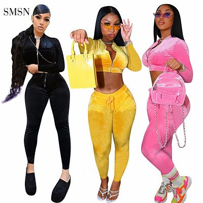 QueenMoen New Arrival Women Suits Long Sleeve Zipper Crop Top Gold Velvet Fabric Bodycon Two Piece Pants Set Velvet 2 Piece Set