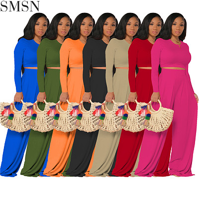 High Quality Solid Color Short Crop Tops Wide Leg Pants Two Piece Set Autumn Casual Matching Set For Women