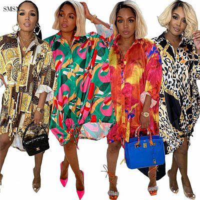 Newest Design Autumn 2021 Fashionable Loose Dress Print Single-breasted Lower Hem Drawstring Women Casual Dress