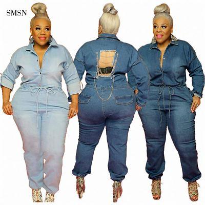 Best Design 2021 Autumn Fashionable Single-breasted Back Broken Hole Chain Women Denim Plus Size Jumpsuits