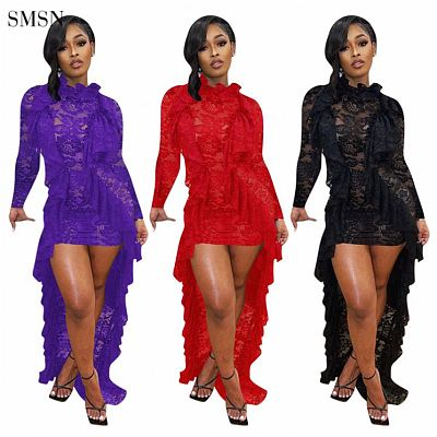 Newest Design 2021 Women Dress Club Wear Long Sleeve Sexy Lace Lotus Leaf Collar Party Prom Dresses