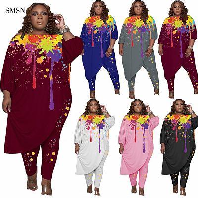 New Arrival 2021 Autumn Plus Size Set Casual Splash Ink Printing Design Irregularity Loose Top Women Two Piece Pants Set