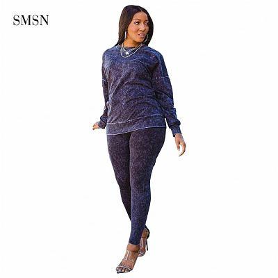 Newest Design 2021 Autumn Winter Women Plus Size Set Casual Long Sleeve O Neck Club Wear Two Piece Pants Set