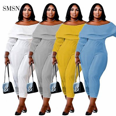 Newest Design 2021 Autumn Casual Solid Color High Elasticity Off Shoudler Ruffles Collar Women Plus Size One Piece Jumpsuits