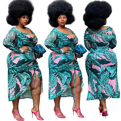 New Style 2021 Autumn Long Sleeve Dress Plus Size Peinted Women Deep V Neck Sexy Dresses