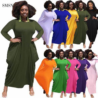 Newest Design 2021 Autumn Women Plus Size Dress Casual Solid Color Long Sleeve Irregularity Hem Maxi Dress
