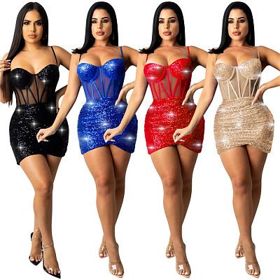 Hot Sale 2021 Autumn Sexy Nightclub Wear Sling Patchwork Tulle Women Casual Short Mini Dresses