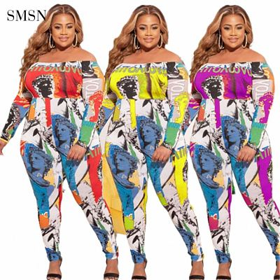 High Quality 2021 Autumn Sexy Strapless Long Sleeve Pattern Print Women Plus Size Women Jumpsuits And Rompers