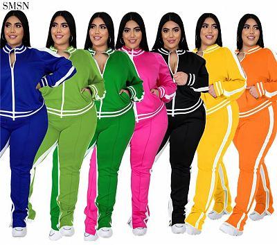 Good Quality 2021 Autumn Winter Plus Size Set Casual Sports Zipper Jacket Solid Color Women Two Piece Pants Set