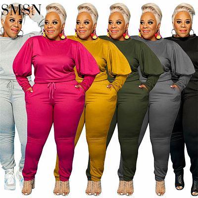 Latest Design 2021 Autumn Plus Size Set Casual Sports Solid Color Street Wear Long Sleeve Women Two Piece Pants Set
