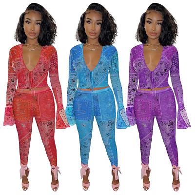 New fashion sexy Mesh printing two piece pants set