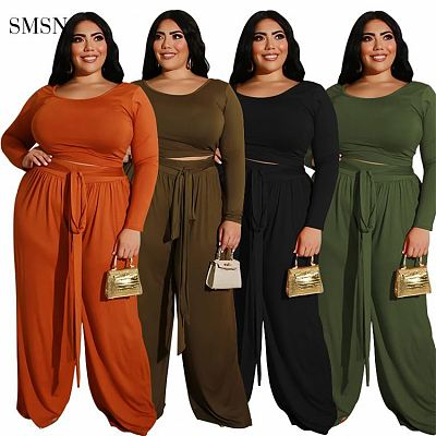 New Arrival 2021 Autumn Plus Size Set Casual Solid Color Long Sleeve O Neck Loose Pants Womens Two Piece Set