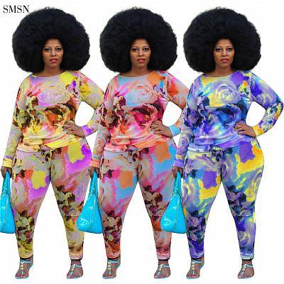Good Quality 2021 Autumn Women Plus Size Set Casual Color Print Long Sleeve O Neck Club Wear Two Piece Pants Set