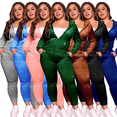 Fashionable 202 Casual Sports Women Solid Color Hoodie Zipper Jacket Plus Size Two Piece Pants Sets