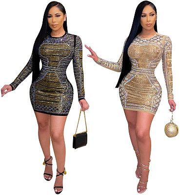 Newest Design Casual solid color Long Sleeve Rhinestone  bodycon mini Dress For Women Evening Dresses
