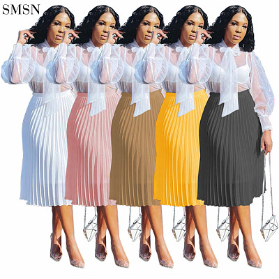 Newest Design Women'S Casual Skirt Casual Versatile Solid Color Chiffon Pleated Skirt