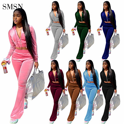 wholesale hot strapless tube crop top high waist flared pants striped women clothing two piece set