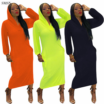 Newest Design Fluorescent Color Long Sleeve Back Burnt Out Holes Dress Autumn Long Casual Hoodie Dress For Women