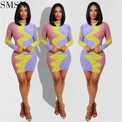 Latest Design Fashionable Sexy Stripe Matching Color Print Dresses Women Casual Dress Girl Women