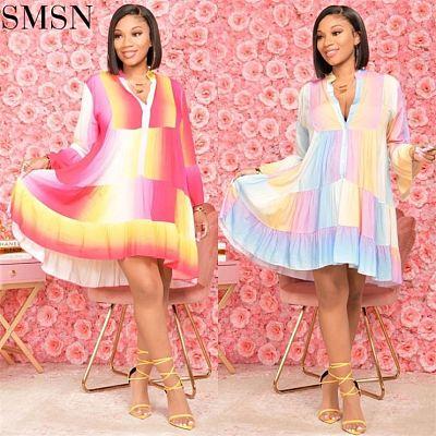 New Style Multicolor Fall 2021 Women Clothes Loose Flounces Print Rainbow Dress Women