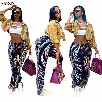 FASHIONWINNIE Autumn Fall Colorful Hip Hop Pants Streetwear Tassel Fringe Casual Pants For Women