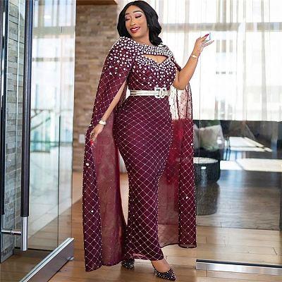 High Quality Womens Dresses Sexy Hip Wrap Gradient Diamond Gradient Sequins Mesh Night Dress