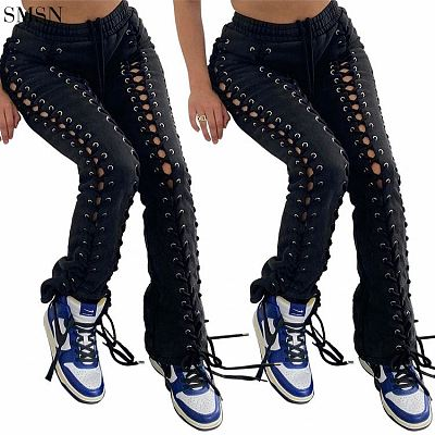 FASHIONWINNIE Solid Color Hollow Out Drawstring Women Pants Streetwear Sweat Jogger Pants Women