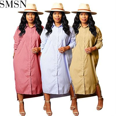 Best Design Printing Formal Dresses Women Striped Shirt Dress Ladies Wears Dresses