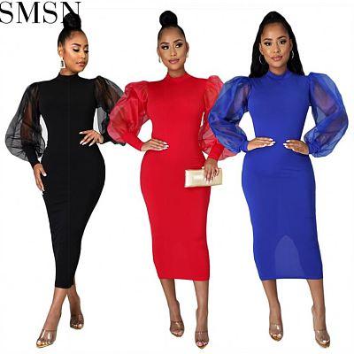 New Style Bodycon Dress Women Lantern Sleeve Mesh Sheath Dress Formal Satin Evening Dress