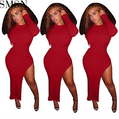Hot Sale Solid Color Cheap Evening Dress Girl Night Dress Split Body Con Dress Woman