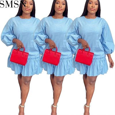 Good Quality Female Clothing Flounces Ruffled Dress Zipper Loose Apparel Bluey Clothes Mini Party Dress