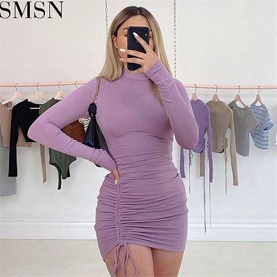 Latest Design Solid Color Short Dress High Collar Drawstring Pleated Club Wear Mini Dress