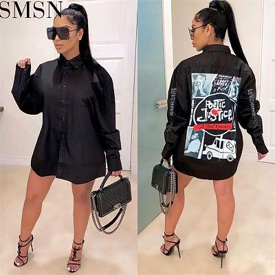 Hot Sale Fashion 2021 Women Printed Ladies Dresses Womens Dresses Black Shirt Dresses