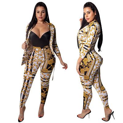 O3053 women fashion print blazer and pencil pants two piece set outfit
