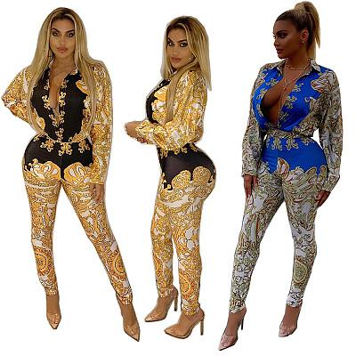 Best seller latest design deep v-neck bodycon Bodysuit long sleeve Long Leggings Pants women print two Piece jumpsuit Sets