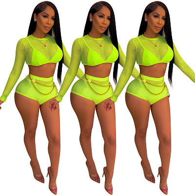Newest Summer Ladies Jump Suit Mesh Bodysuits Women Two Piece Short Jumpsuits And Rompers Sets For Woman