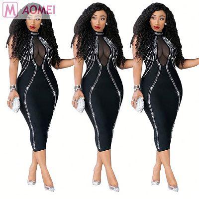 W1159 Drill hot rhinestone backless see-through zipper bodycon pencil midi dress for woman party