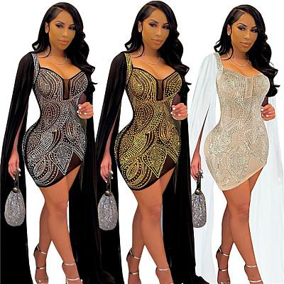 2021 Best Seller Solid Rhinestone  Fashion Clothing Women Sexy Slim Dress Elegant Party
