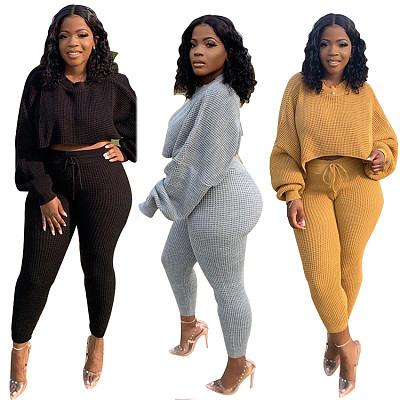 Trendy 2021 Autumn Casual Crop Top 2 Piece Set Women Clothing Solid Color Women Two Piece Pants Set