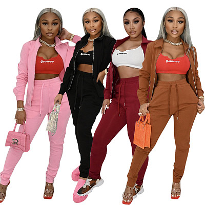 Good Quality Casual Sports Zipper Cardigan Fall 2 Piece Set Women Clothing Solid Color Women Two Piece Pants Set