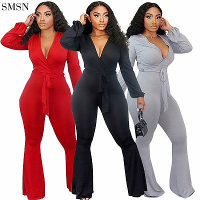 Best Seller One Piece Jumpsuit Womens Sexy Deep V Tight Strap Long Sleeve Bell Bottom Jumpsuit