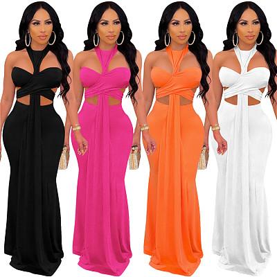 Best Selling Summer Sleeveless 2021 Fashion Sexy Zipper Backless Mesh Clothing Women Casual Dress