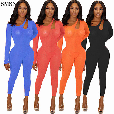 Best Seller One Piece Jumpsuit Womens Fall/Winter Fashion Solid Color Mesh Long Sleeve Jumpsuit